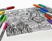 Mandala coloring, drawing #9002 printed on cardboard, coloring of relaxation, flamingos