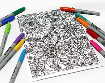 Mandala coloring, drawing #1605 printed on cardboard, coloring of relaxation, flowers