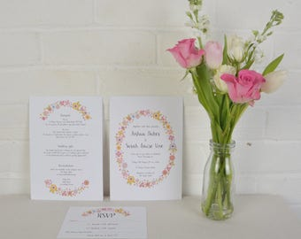 Wedding Invitation Set, Wedding Invitations & RSVP Set, Wedding Stationery with Flowers, Love Sign Wedding Invitations, Wedding RSVP