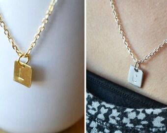 Charm Necklace, Square Letter Necklace, Letter Necklace, Personalized Letter Necklace, Custom Letter Necklace, Square Necklace, Jewelry