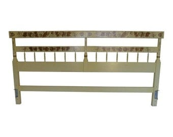 "SALE! Org 595.00 Cottage Style ""Hitchcock "" Cream and Gold Stencil  King Size Headboard 80""LX 2.5""WX41""H"