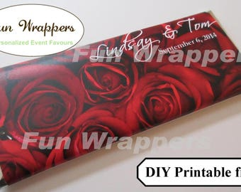 PRINTABLE Rose candy bar wrapper | Rose chocolate bar wrapper | Rose Wedding label | Rose wedding favor | Rose Anniversary favor