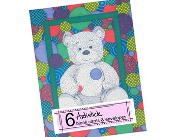 Teddy Bear Cards - Kids Stationery - Blank Greeting Cards - Thank You Notes - Fun Colorful Cards - Pack of Cards - Card Set - Baby Shower