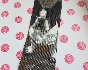 Peyote stitch cuff bracelet french bulldog