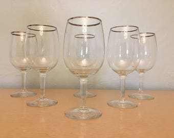 Six Rounded 12 oz Wine Glasses with Silver Rim