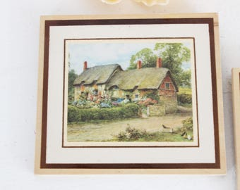 Vintage 1970s Prints on Wood Cottage Country Life / Thomas Kinkade Style Illustrations / English Cottage Watercolor