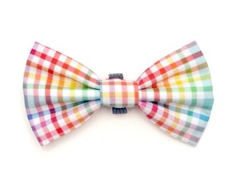 The Elm Bow Tie — Dog Bowtie, Made in Brooklyn, Bowtied, Rainbow, Gay Pride, Colorful, Bright, Multicolor, Plaid