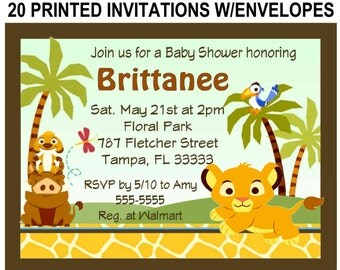 20 LION KING BABY Simba Baby Shower Invitations with envelopes ~ free shipping