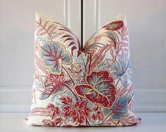 Pillow Cover-Thibaut-Tidewater-Sweet Grass-Burgundy & Blue