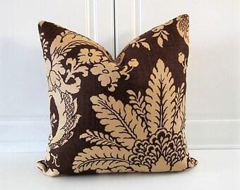 Schumacher Decorative Pillow Cover- Melbury Damask-Sable Linen-18x18-Last One!