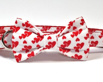 SALE Valentines Hearts Dog Collar Bow Tie set, pet bow tie, collar bow tie, wedding bow tie