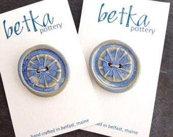 Stoneware buttons, one per card