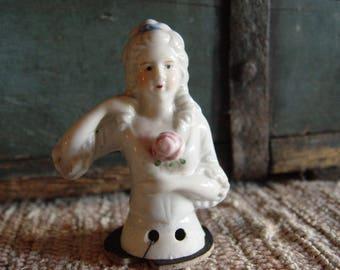 Vintage Porcelain Half Doll Pincushion Lady Japan ~ Pink Rose