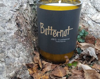 Butternut 2013 Chardonnay California Repurposed Wine Bottle Soy Wax Candle Clean Cotton Scented