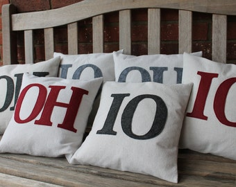 "Set of 2 ""OH"" and ""IO"" Pillow Covers Only, 12"", Mix and Match colors"