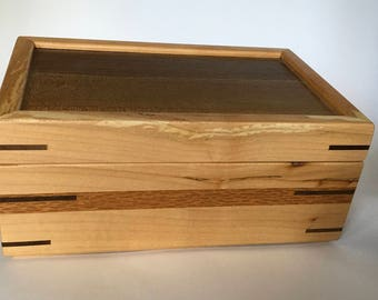 Wooden jewelry box of maple and walnut