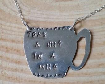 Sterling Silver Stamped 'Tea: Hug In A Mug' Necklace