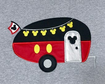MICKEY CAMPER Inspired By Mickey Embroidered and Appliqued T-Shirt for Children and Adults
