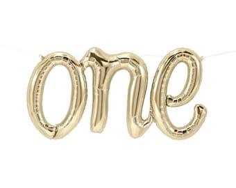 "ONE Balloon 30"" White Gold Script Foil Balloon,First Birthday ""Same Day Shipping"""