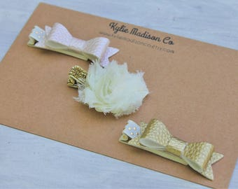 pale pearl pink and gold petite hair bow clip set of 3, baby hair clips