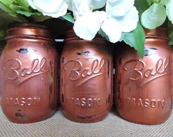 Copper Mason Jars, Copper Decor, Painted Mason Jars, Copper Painted Mason Jars, Wedding Decor, Copper Wedding Decor, Copper Centerpieces