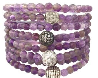 February Birthstone, Purple Amethyst double wrap stack bracelet-Healing Gemstone Bracelet- Gift for Her- Stack Bracelet- Holiday Gift
