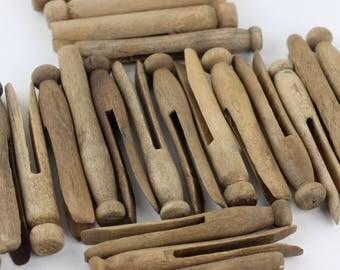 Vintage Old Wooden Clothespins Set Of 6