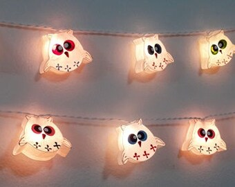 Garland String Lights Lovely White Owls Baby 20 Party Patio Fairy Decor  Mulberry Paper Kid Room