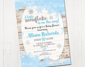 Snowflake Baby Shower Invitation boy, Winter Baby Shower Invitation boy, holiday Baby Shower Invite, Printable Baby Shower Invitation
