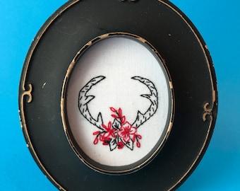 Antlers, Framed hand-embroidered illustration