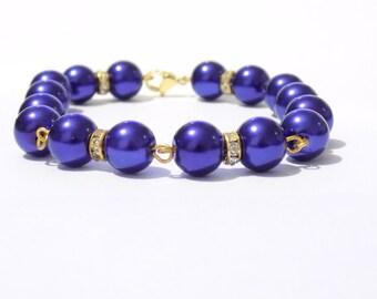 Blue pearl bracelet, blue bracelet, pearl bracelet, bridesmaide bracelet, beaded bracelet