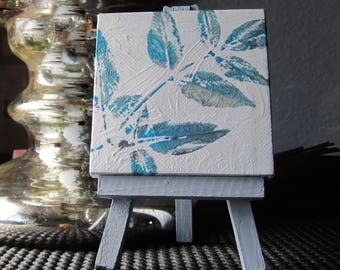 Small abstract art | teal gray painting | small blue painting | shelf art decor | floral abstract | cottage art | mini abstract canvas