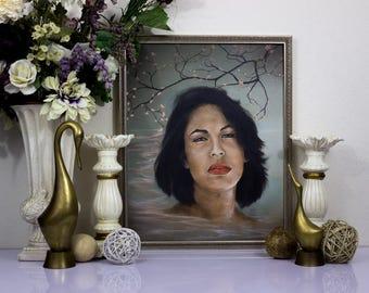 Selena Quintanilla, Original Painting, Canvas Art, Surrealism, Portrait Art, Wall Art, Pop Music, Tejano Music, Classic Music, Latino Music