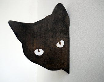 Black cat decor Cat sculpture Minimalist home decor Minimal cat decor Cat ornament Cat wall art Оffice decor cat Cute office decor