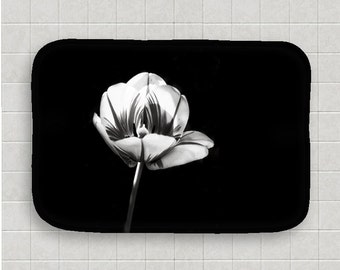 Tulip Decor-Black & White Floor Mat-Floral Bath Mat-Microfiber Foam Mat-Mat-Flower Bath Decor-Kitchen Floor Mat-NonSkid Floor Mat