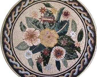 Oriented Floral Mosaic Tile Rug