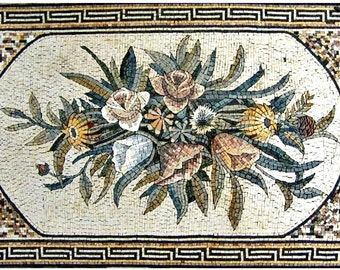 Flower Bouquet Mosaic Tile Rug