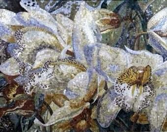 White Lilies Flowers Mosaic
