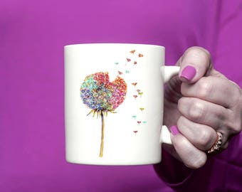 Dandelion wishes Coffee Mug Handmade Art Rainbow Wishes mug Rainbow colours Tea Cup Mug Dandelion Seeds