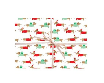 Dachshund Wrapping Paper, Dachshunds Gift Wrap, Christmas Dachshunds Wrapping Sheets