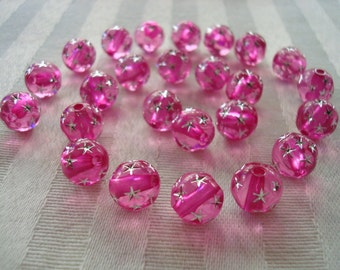 40 Pink Fuchsia, Sparkling, Silver Star, Acrylic Rounds. 10mm Solid Translucent Color/Not Painted. Holes 1.8mm ~USPS Ship Rates/ Oregon