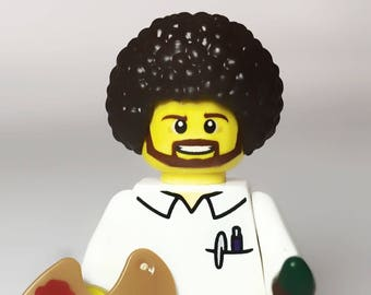 Happy Trees Painter Custom MiniFigure genuine LEGO®  parts / Artist / Painter / Painting teacher / Instructor / Bob Ross