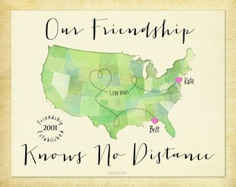 Long Distance Gift for Friend, Going Away Gift Print for Friend, Friendship Knows No Distance Gift Print, Birthday Gift for Friend