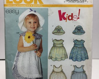 Simplicity New look 6255 Toddler Dress, Pinafore, Bloomers, Hat Sewing Pattern Size 0-L Brim Hat, Sleeveless Dress,Empire Waist,Summer Dress