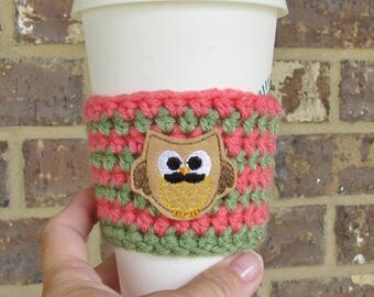 Owl Cup Cozy, Crochet Sleeve, Drink Holder, Hot or Cold Beverage, Reusable Cozy, Birthday Gift, Cup Warmer, Office Gift, To Go Cup Cozy
