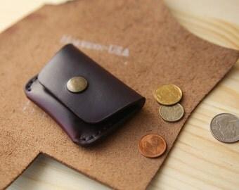 Coin purse, Leather coin purse, Leather coin pouch, Small leather pouch, Mens coin purse, Leather coin wallet, Horween Chromexcel #8