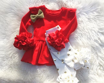 ruffle tunic dress, girls knit ruffle tunic, Baby's first Chirstmas, toddler red tunic, girls boho outfit, newborn take home outfit,