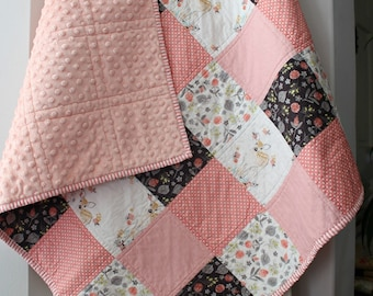 Baby Girl Quilt~ Coral Nursery~ Woodland Nursery Bedding~ Patchwork Baby Quilt~ Homemade Baby Quilt~Pink & Grey Nursery~Baby Quilts For Sale