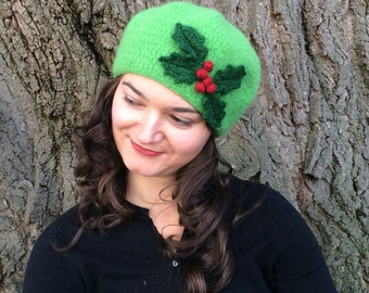Felted Wool Holly Hat