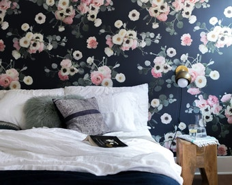 Midnight Floral REMOVABLE Fabric Wallpaper Tile